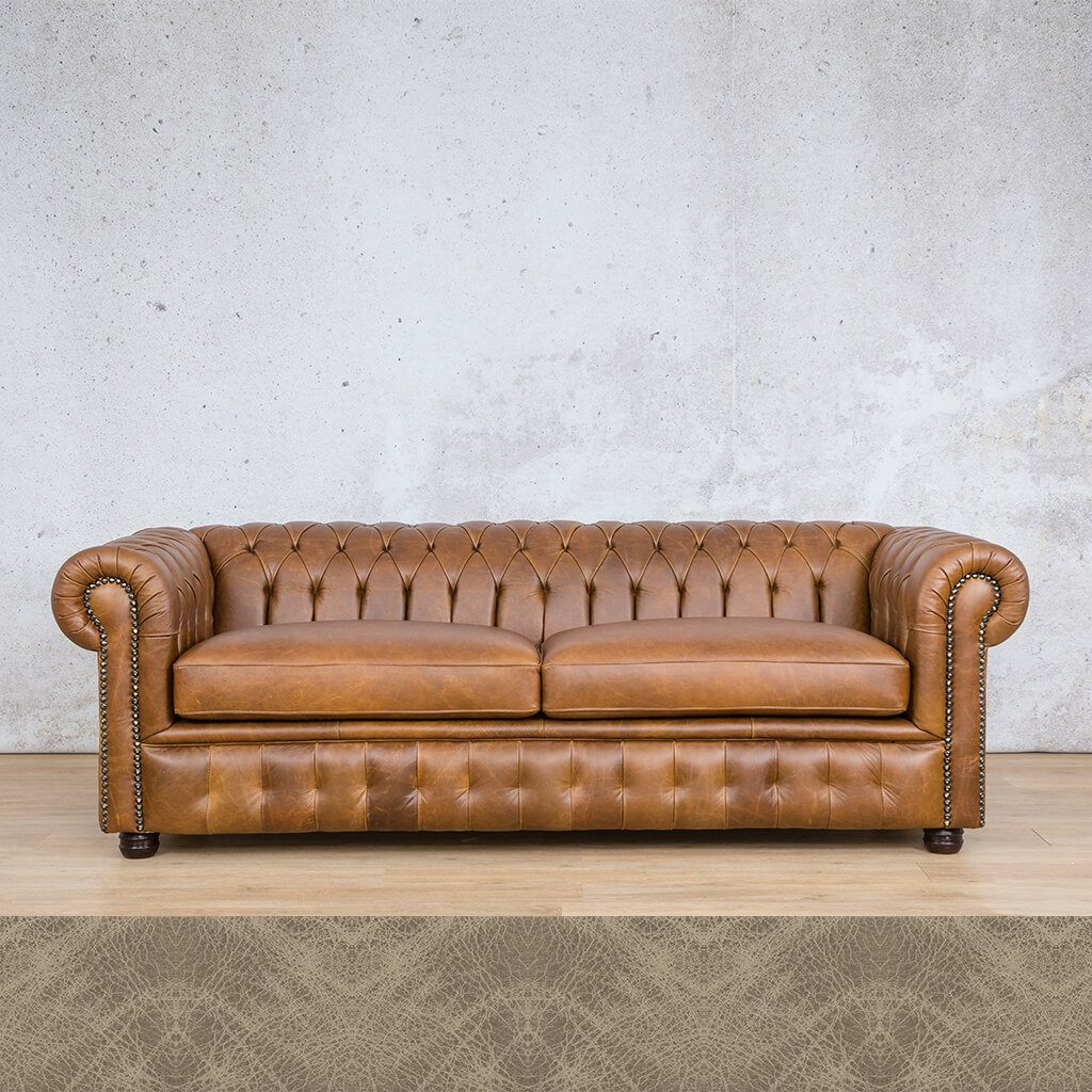 Chesterfield Leather Couch | 3 Seater | Bedlam Taupe | Leather Gallery