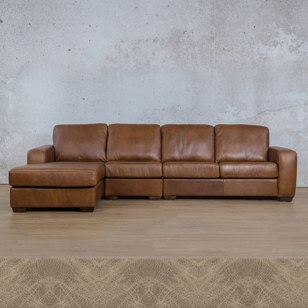 Starnford Leather Corner Couch | Modular Sofa Chaise-LHF | Bedlam Taupe | Couches For Sale | Leather Gallery Couches