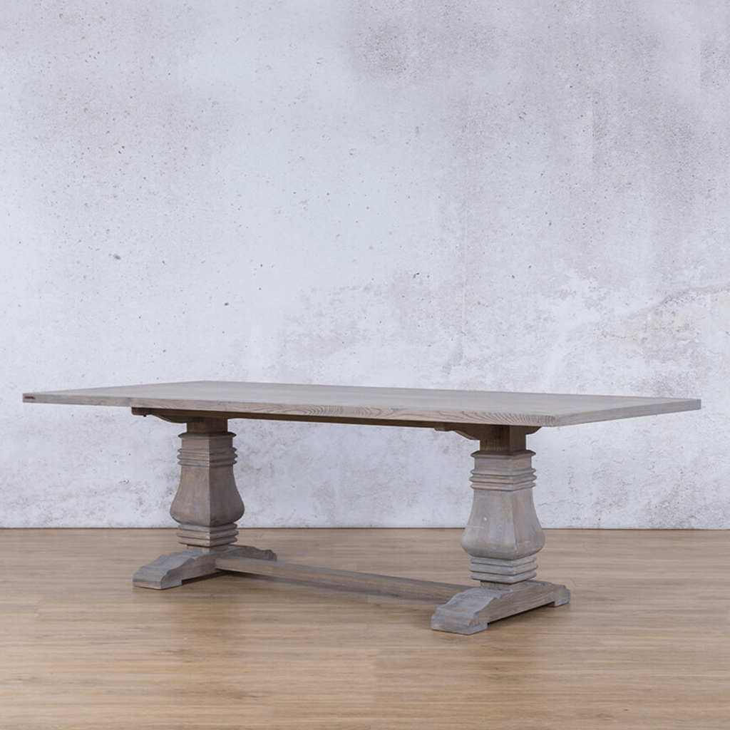Belmont Fluted Wood 6 Seater Dining Table - Antique Grey