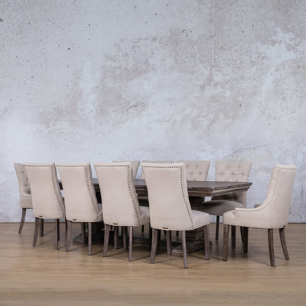 Belmont Fluted Wood & Duchess 10 Seater Dining Set