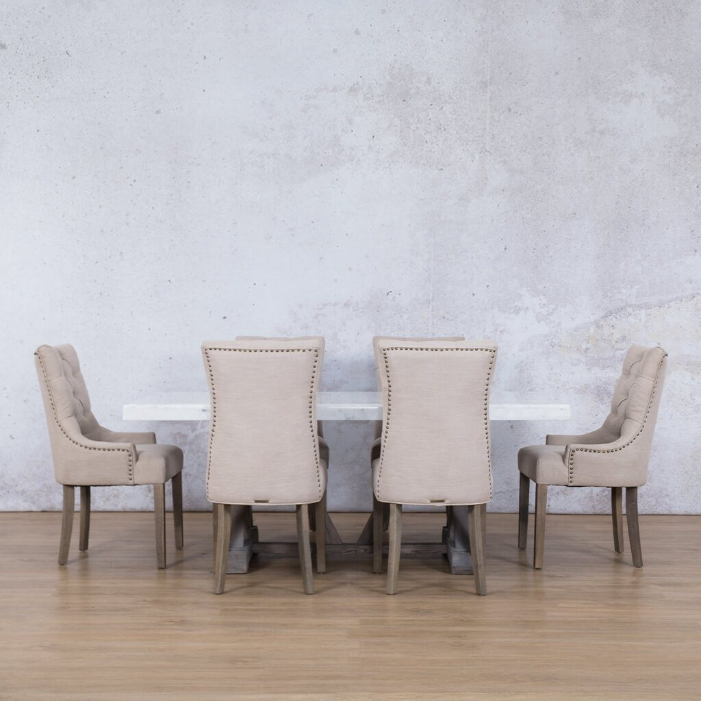 Berkeley Marble Top & Duchess | 6 Seater | Dining Set | Leather Gallery