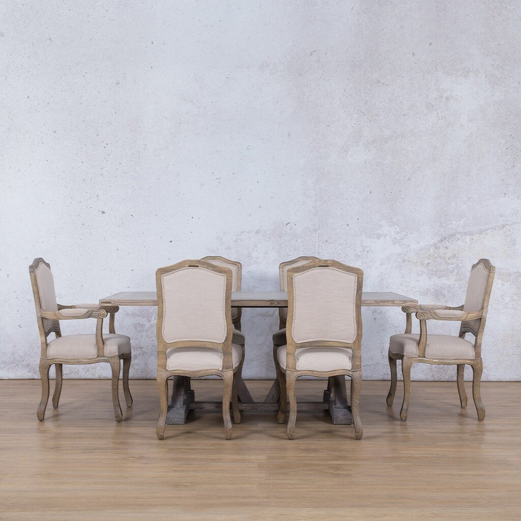 Berkeley Wood Top & Duke |  6 Seater Dining Set | Leather Galley