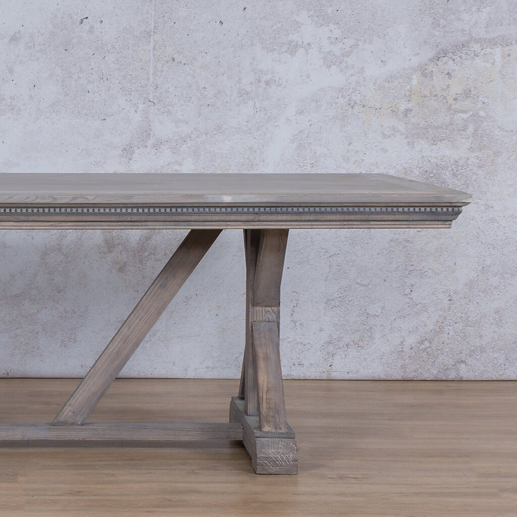 Berkeley Fluted Wood Top | 8 or 10 Seater Dining Table | Antique Grey | Leather Gallery
