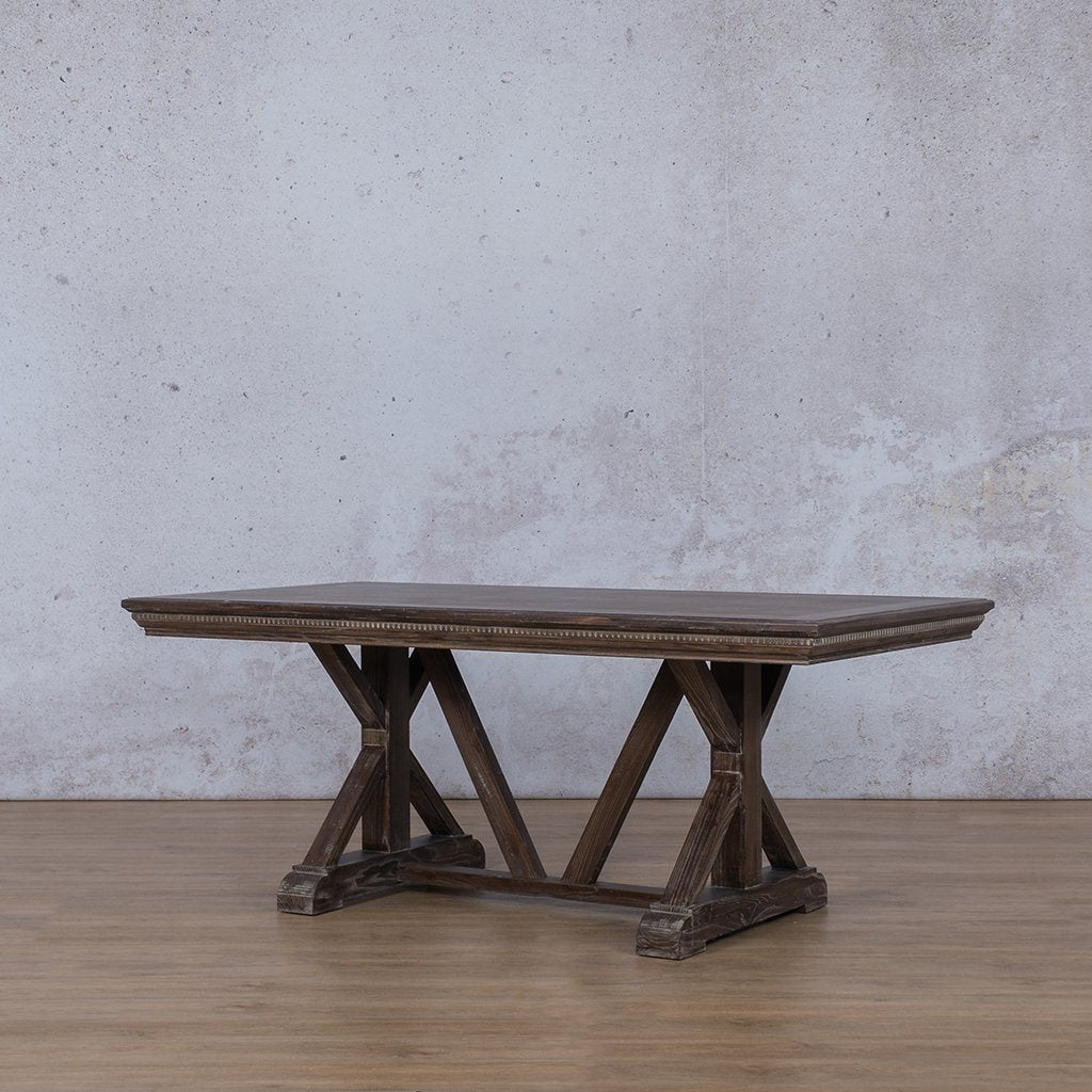 Berkeley Fluted Wood 6 Seater Dining Table - Antique Coffee