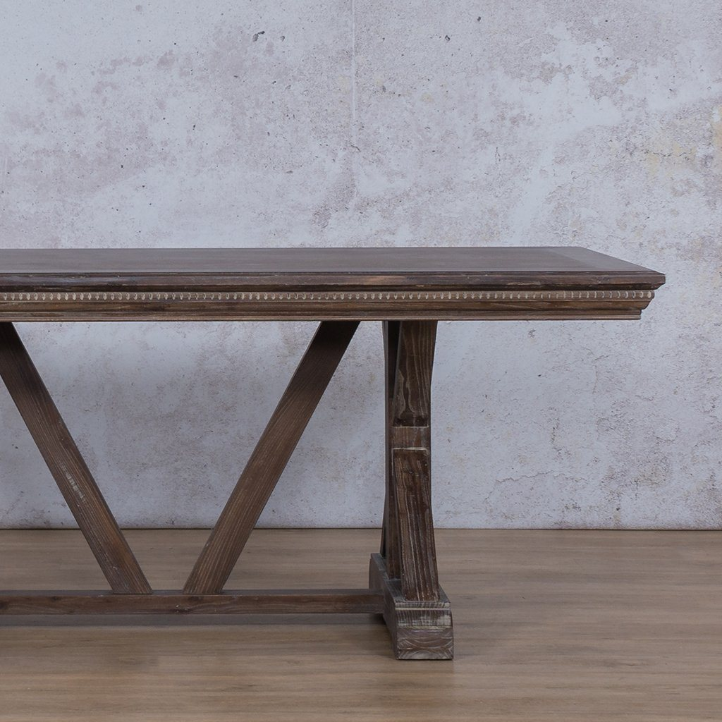 Berkeley Fluted Wood Top | 6 Seater Dining Table | Antique Coffee | Leather Gallery