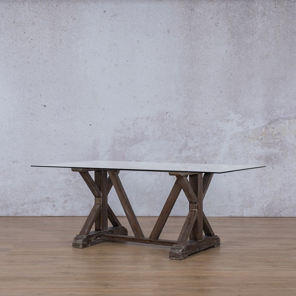 Berkeley Glass 6 Seater Dining Table - Antique Coffee
