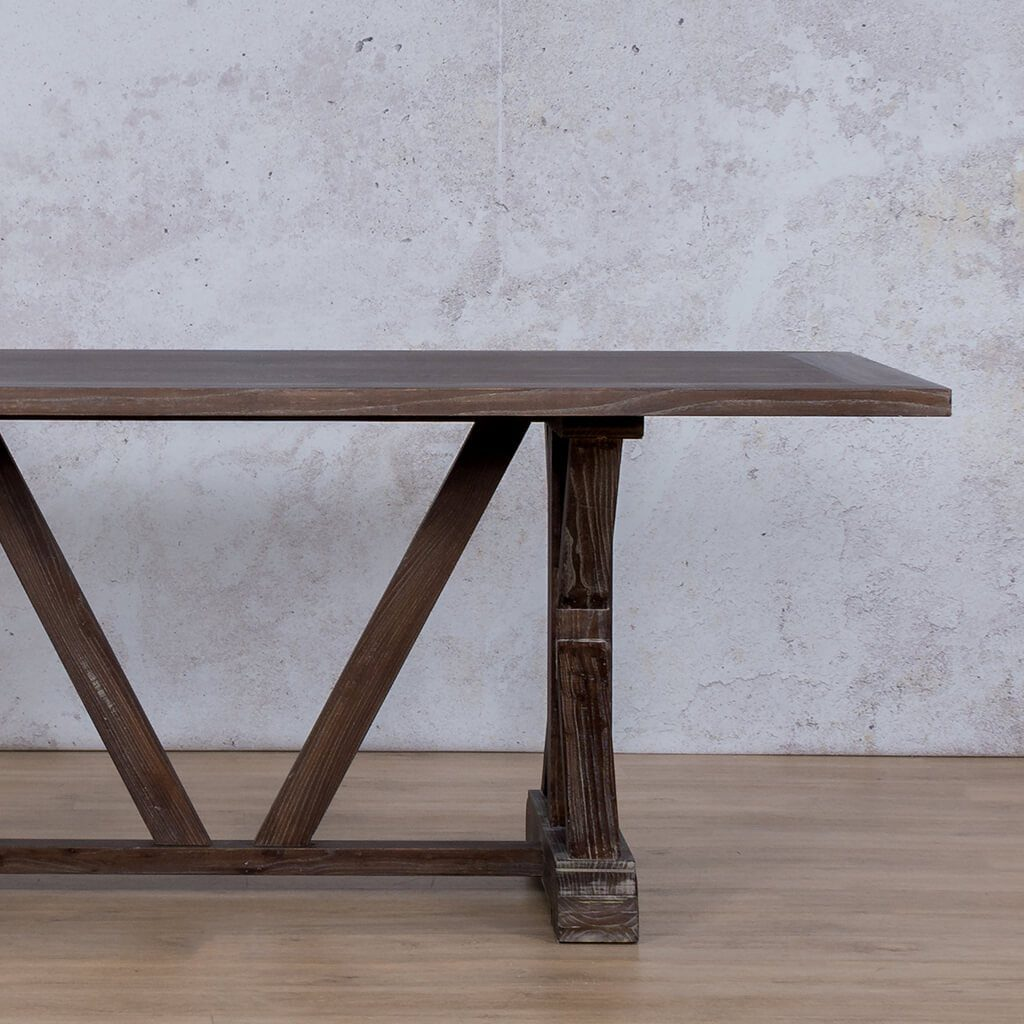 Berkeley Wood Top | 6 Seater Dining Table | Antique Coffee | Leather Gallery