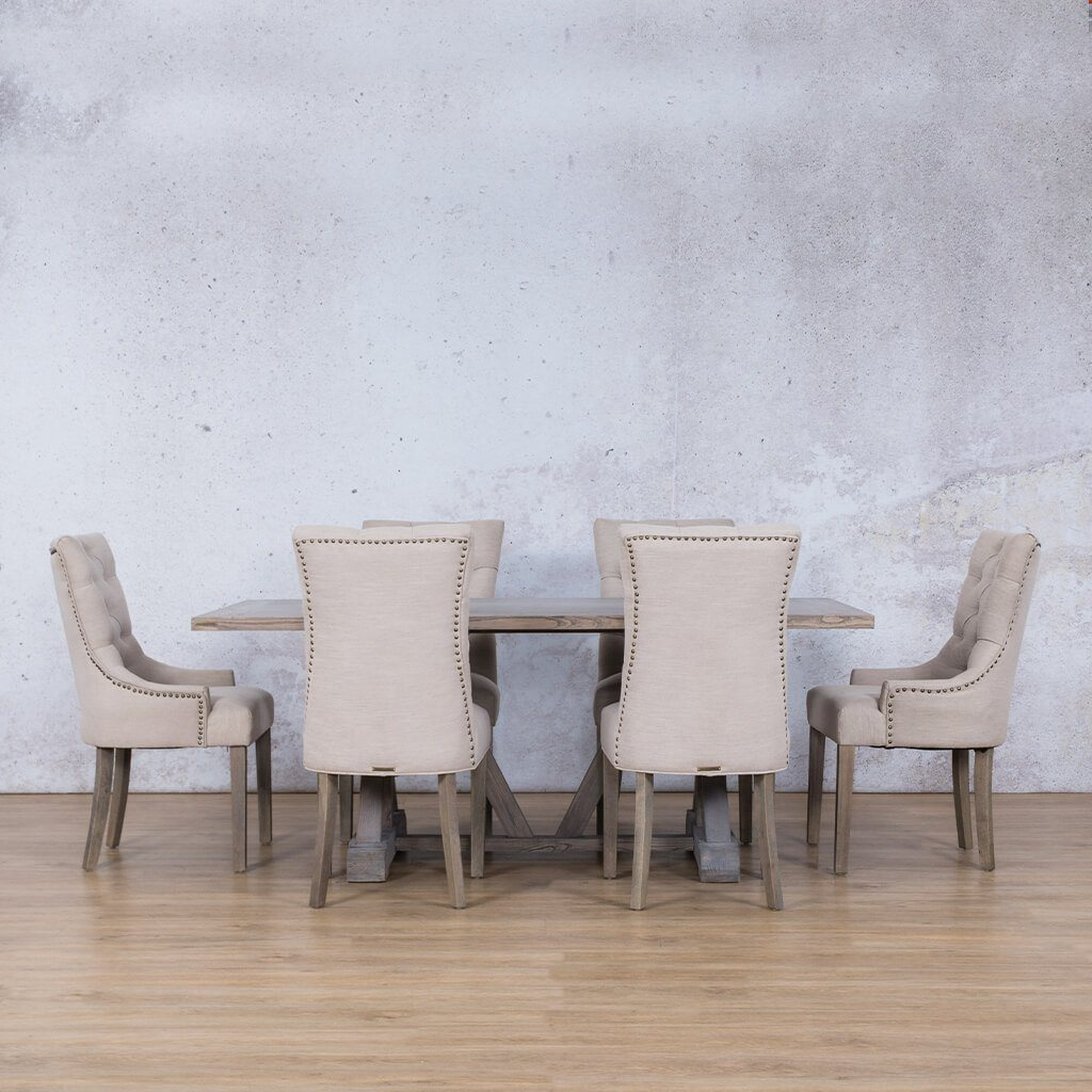 Berkeley Wood Top & Duchess | 6 Seater | Dining Set | Leather Gallery