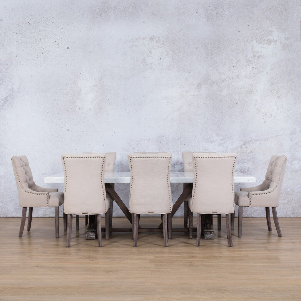 Berkeley Marble Top & Duchess | 8 Seater | Dining Set | Leather Gallery