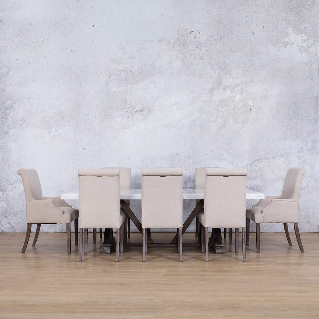 Berkeley Marble Top & Baron | 8 Seater | Dining Set | Leather Gallery