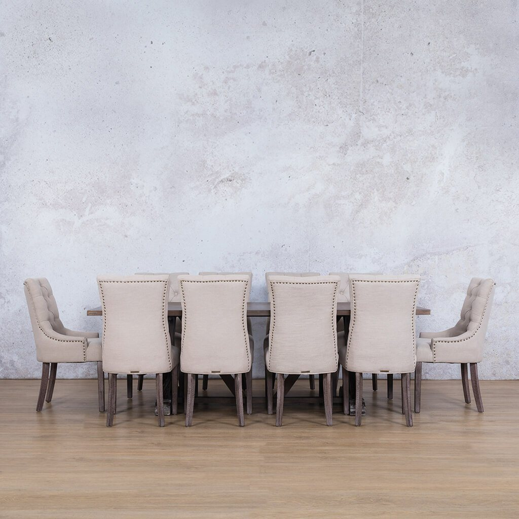 Berkeley Wood Top & Duchess | 10 Seater | Dining Set | Leather Gallery