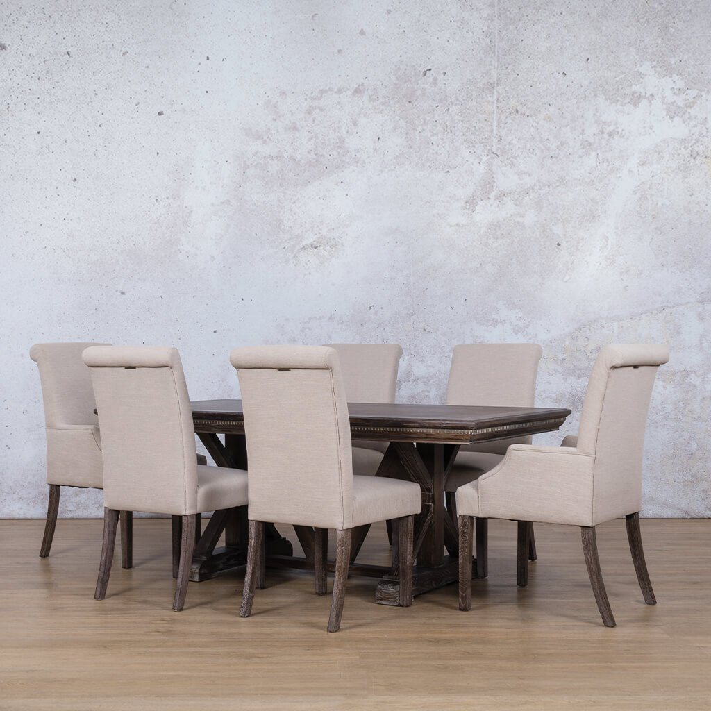 Berkeley Fluted Wood Top & Baron 6 Seater Dining Set