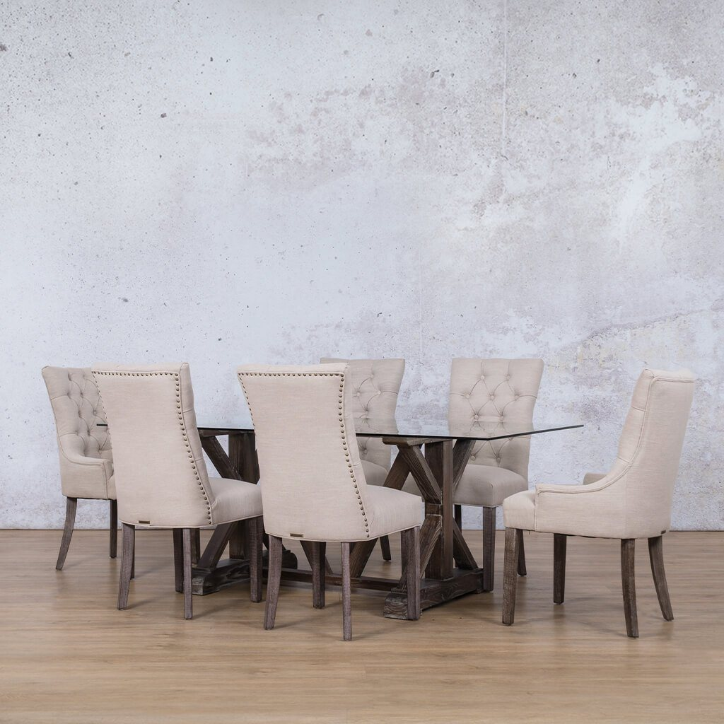Berkeley Glass Top & Duchess 6 Seater Dining Set