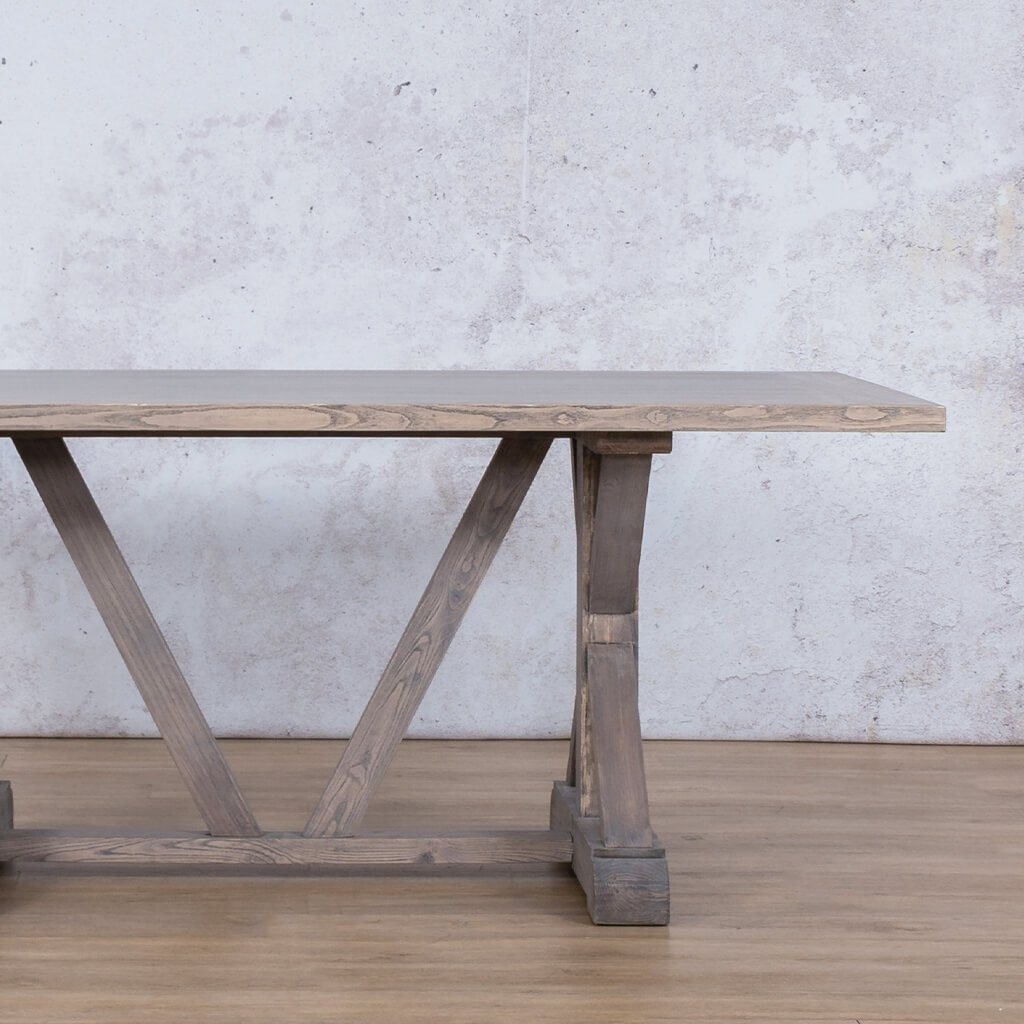 Berkeley Wood Top | 6 Seater Dining Table | Antique Grey | Leather Gallery