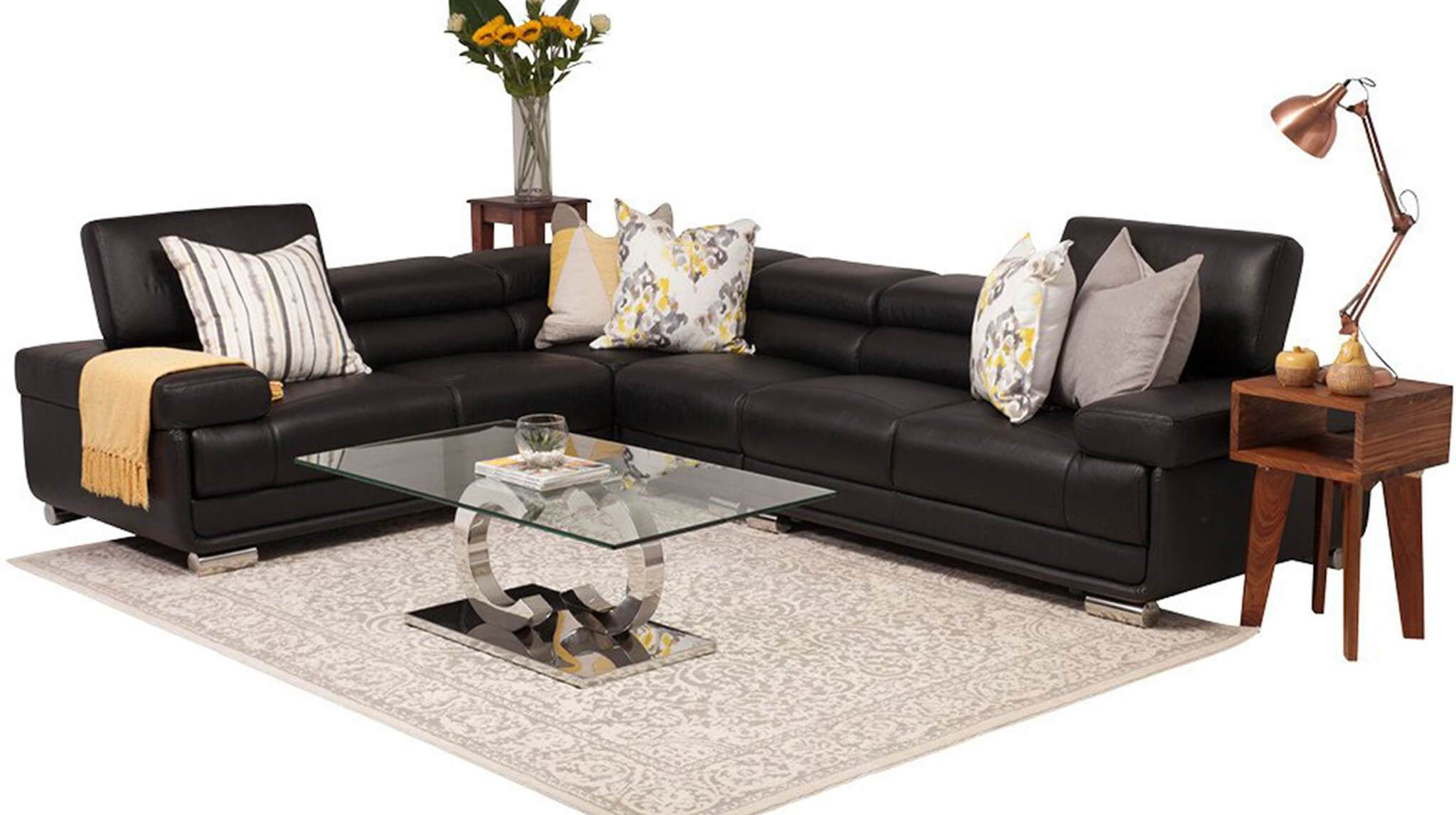 San Miguel Leather Corner Couch | Sectional | Black-SM | Couches For Sale | Leather Gallery Couches