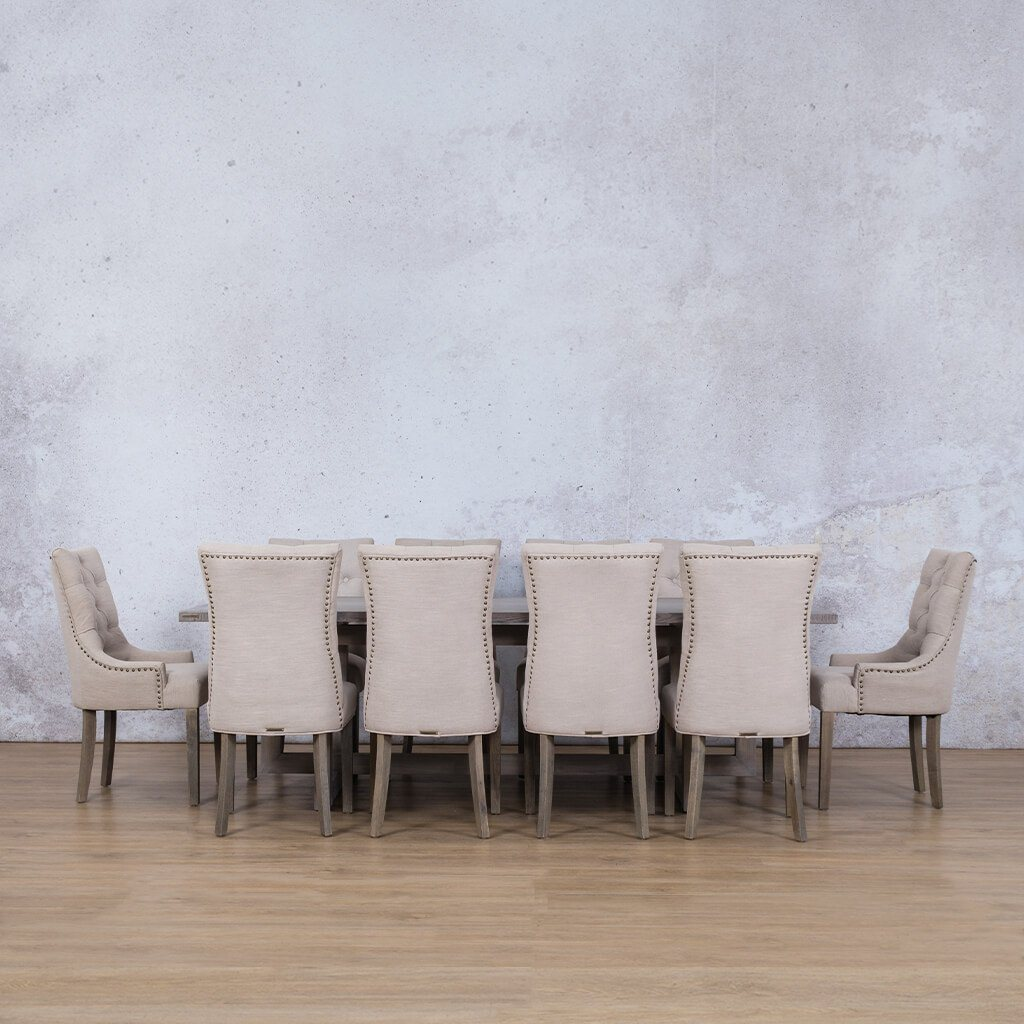 Bolton Wood Top & Duchess | 10 Seater | Dining Set | Leather Gallery