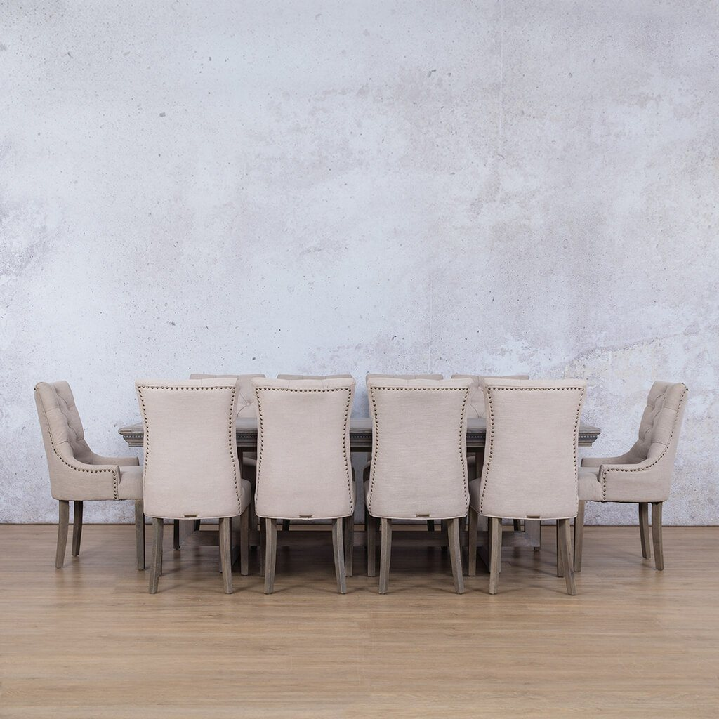 Bolton Fluted Wood & Duchess | 10 Seater | Dining Set | Leather Gallery