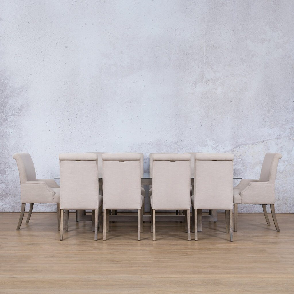 Bolton Glass Top & Baron | 10 Seater | Dining Set | Leather Gallery