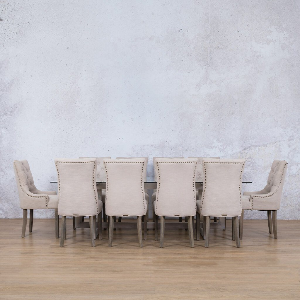 Bolton Glass Top & Duchess | 10 Seater | Dining Set | Leather Gallery