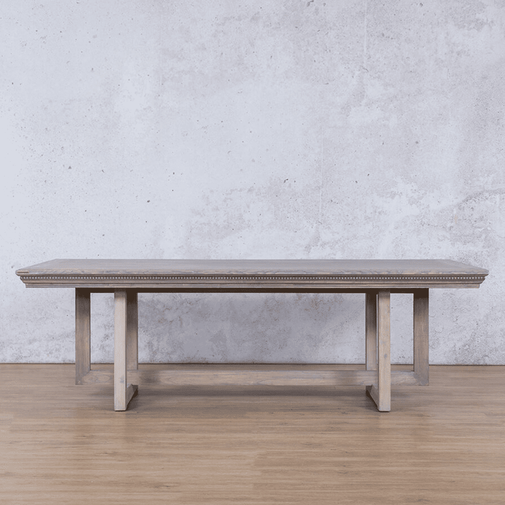 Bolton Fluted Wood 8 or 10 Seater Dining Table - Antique Grey