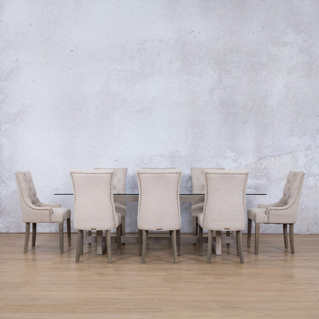 Bolton Glass Top & Duchess | 8 Seater | Dining Set | Leather Gallery