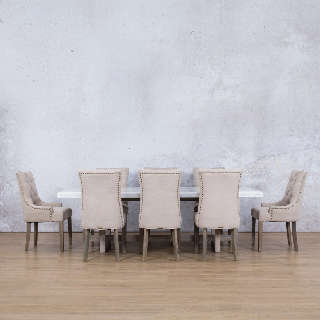 Bolton Marble Top & Duchess 8 Seater Dining Set