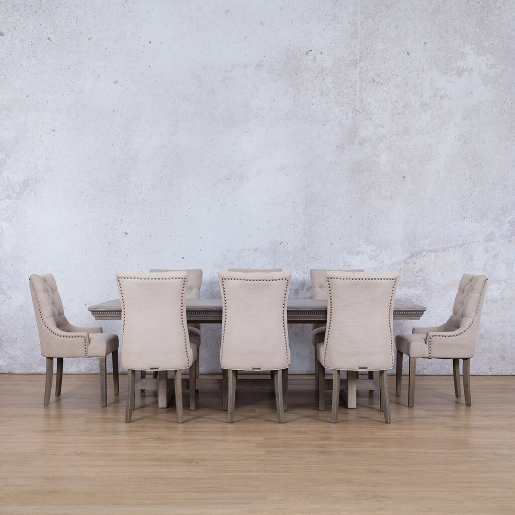 Bolton Fluted Wood Top & Duchess | 8 Seater |  Dining Set | Leather Gallery