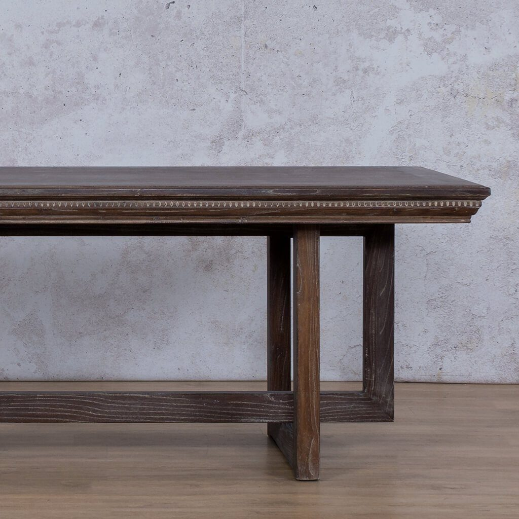Bolton Fluted Dining Table | Antique Coffee | 6 Seater | Leather Gallery