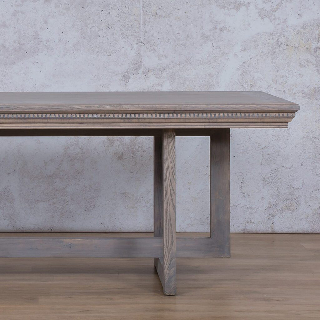 Bolton Fluted Dining Table | Antique Grey | 6 Seater | Leather Gallery