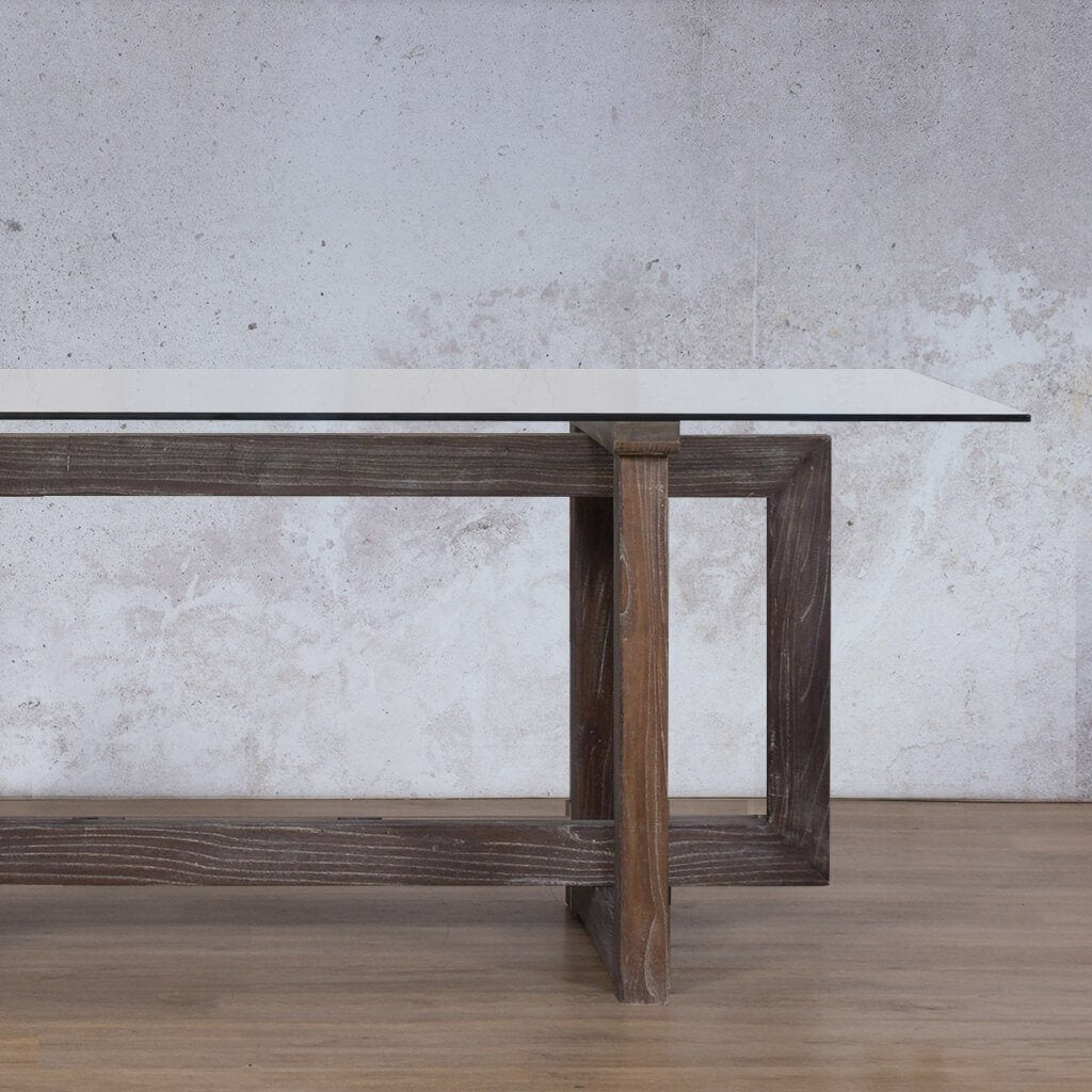Bolton Glass Dining Table | 1.9m | 6 Seater | Leather Gallery