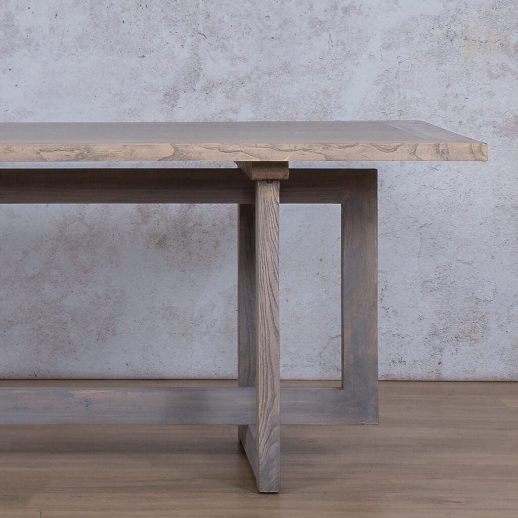 Bolton Wood Dining Table | Antique Grey | 6 Seater | Leather Gallery