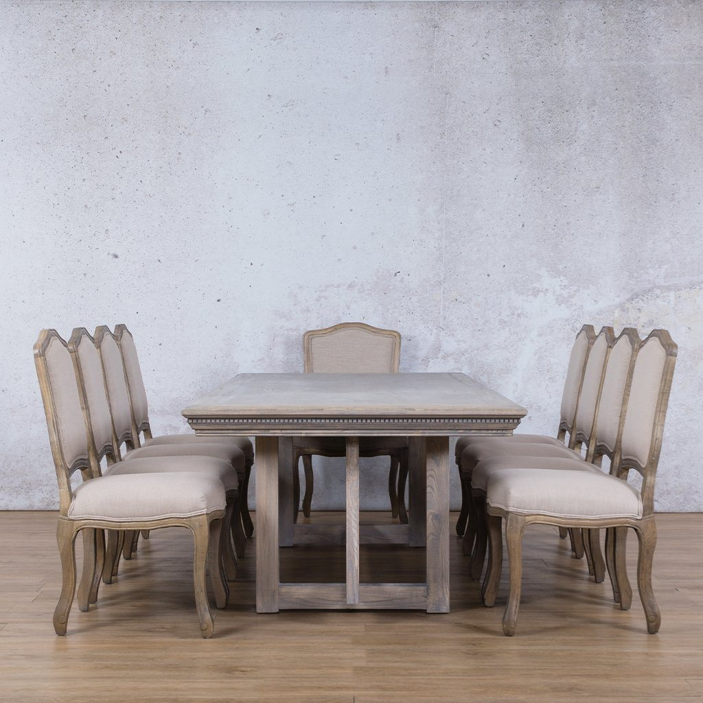 Bolton Fluted Wood Top & Duke 10 Seater Dining Set