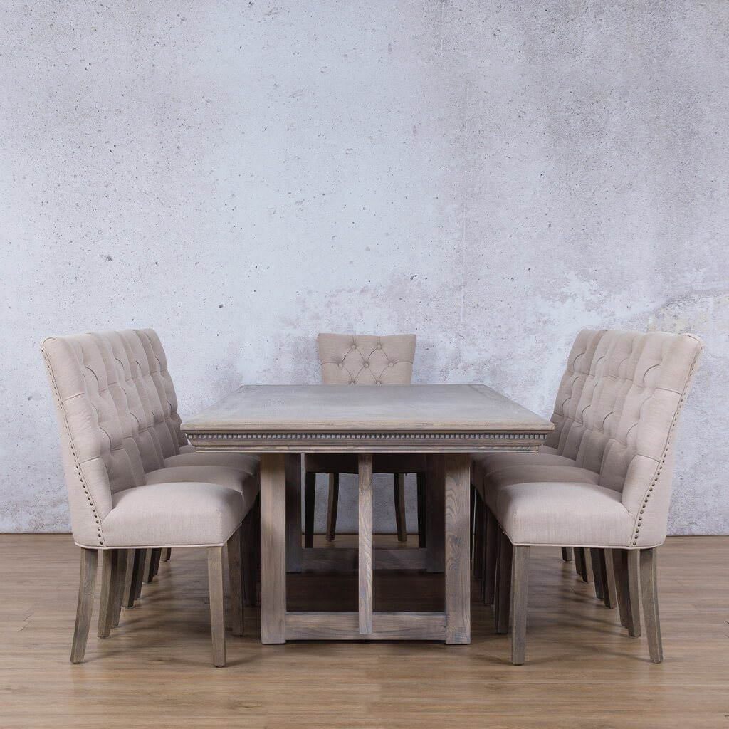 Bolton Fluted Wood Top & Baron 10 Seater Dining Set
