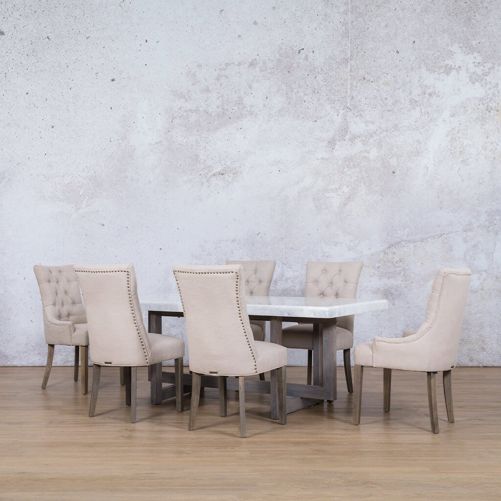 Bolton Marble Top & Duchess 6 Seater Dining Set