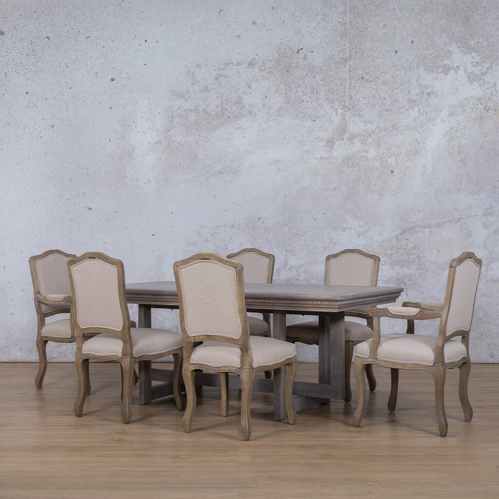Bolton Fluted Wood Top & Duke | 6 Seater | Dining Set | Leather Gallery