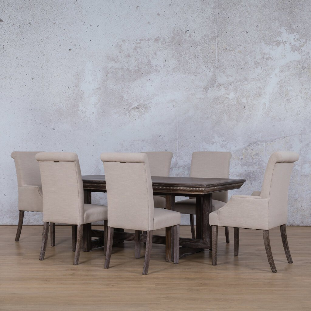 Bolton Fluted Wood Top & Baron 6 Seater Dining Set