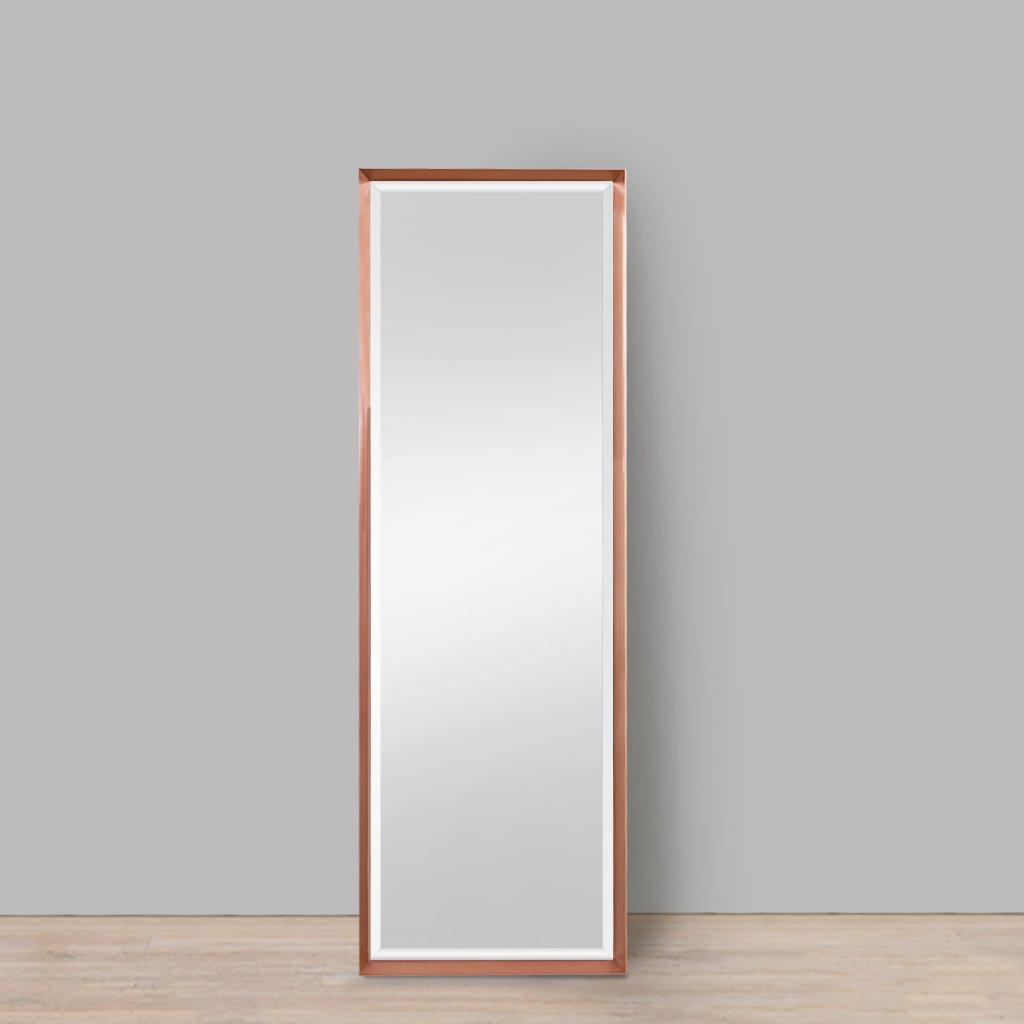 Nevada Bevelled Aluminium Mirror Copper | Leather Gallery