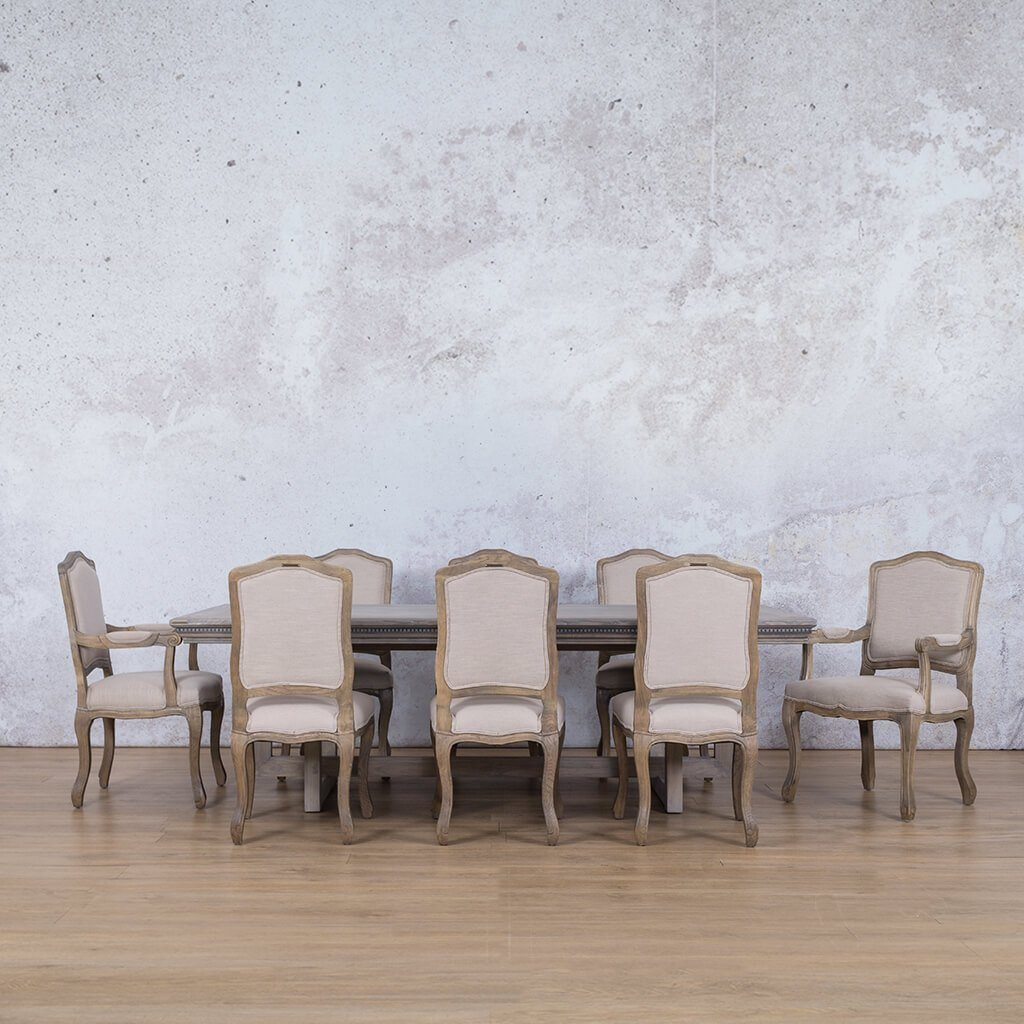 Bolton Fluted Wood Top & Duke | 8 Seater | Dining Set | Leather Gallery