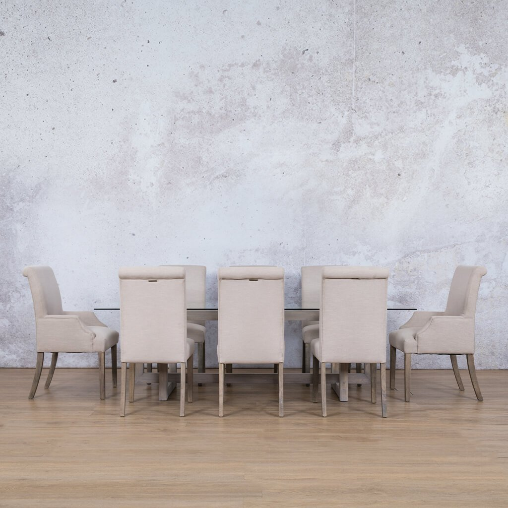Bolton Glass Top & Baron | 8 Seater | Dining Set | Leather Gallery