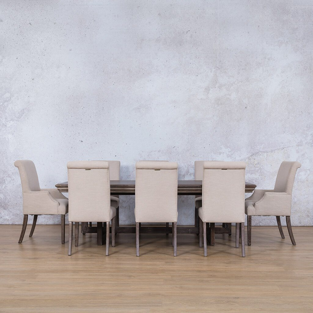 Bolton Fluted Wood Top & Baron | 8 Seater | Dining Set | Leather Gallery