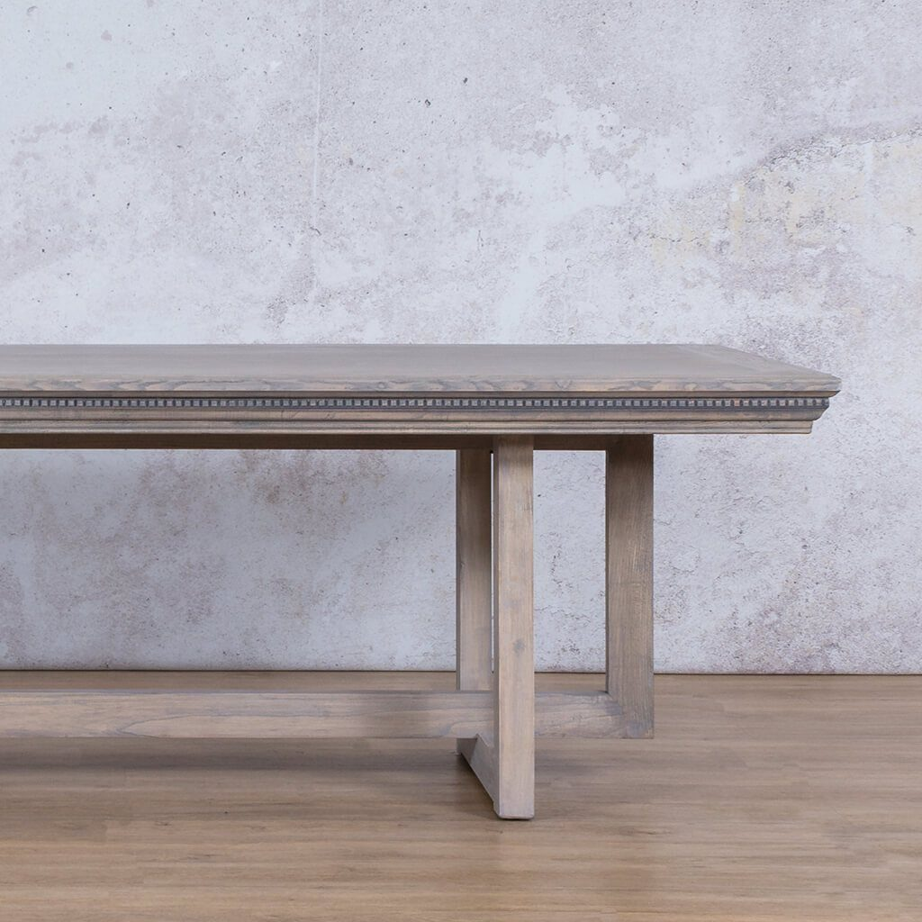 Bolton Fluted Dining Table | Antique Grey | 8 or 10 Seater | Leather Gallery