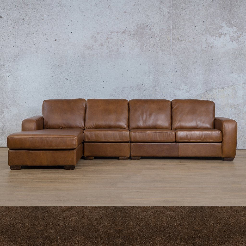 Starnford Leather Corner Couch | Modular Sofa Chaise-LHF | Czar Pecan | Couches For Sale | Leather Gallery Couches