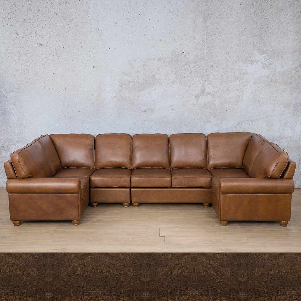 Salisbury Leather Corner Couch | Modular U-Sofa Sectional | Buffed Brown | Couches For Sale | Leather Gallery Couches