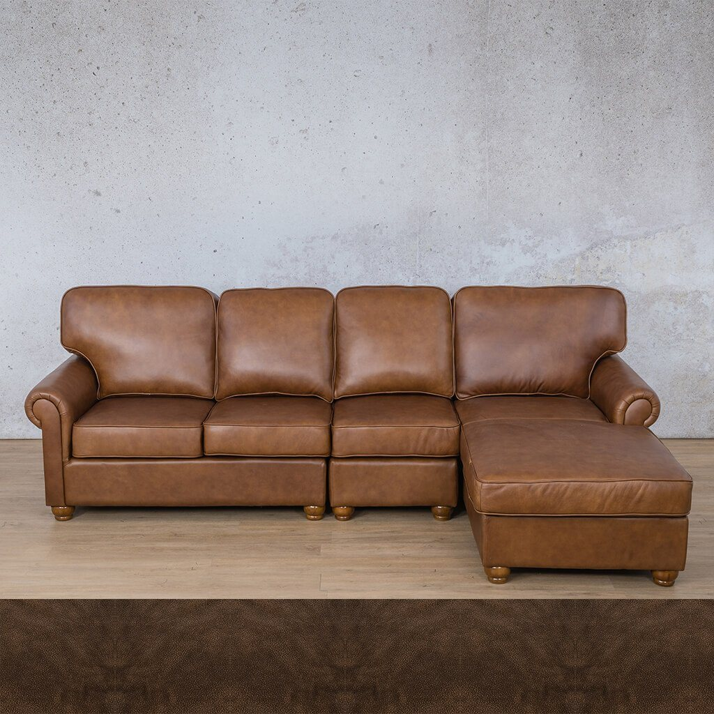 Salisbury Leather Corner Couch | Chaise Modular Sectional-RHF | Buffed Brown | Couches For Sale | Leather Gallery Couches