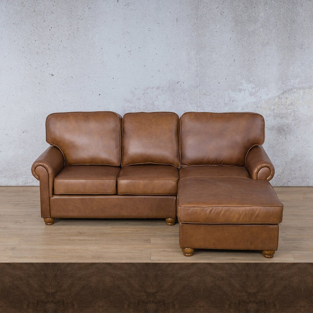 Salisbury Leather Corner Couch | Chaise Sectional-RHF | Buffed Brown | Couches For Sale | Leather Gallery Couches