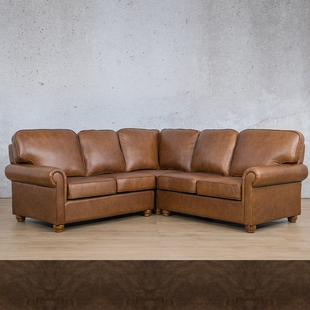 Salisbury Leather Corner Couch | L-Sectional 5 Seater | Buffed Brown | Couches For Sale | Leather Gallery Couches