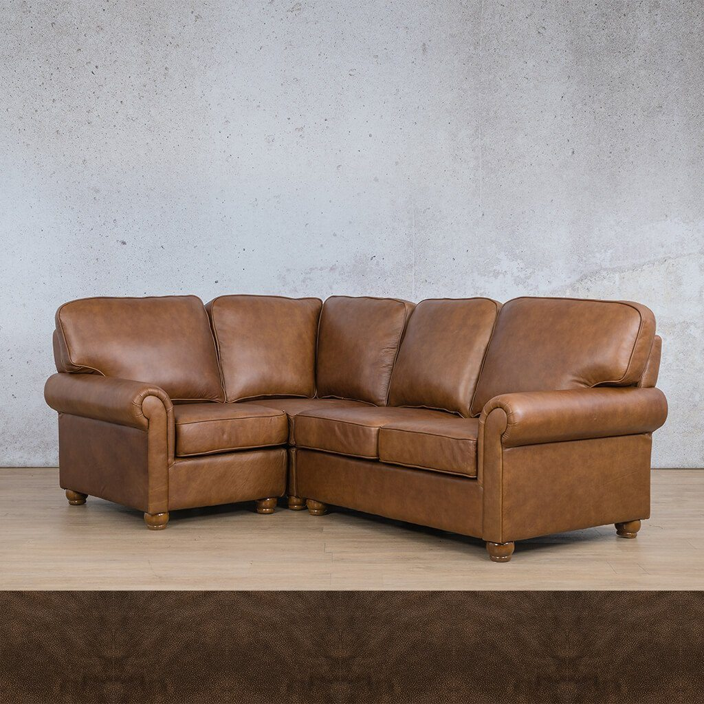 Salisbury Leather Corner Couch | L-Sectional 4 Seater-LHF | Buffed Brown | Couches For Sale | Leather Gallery Couches