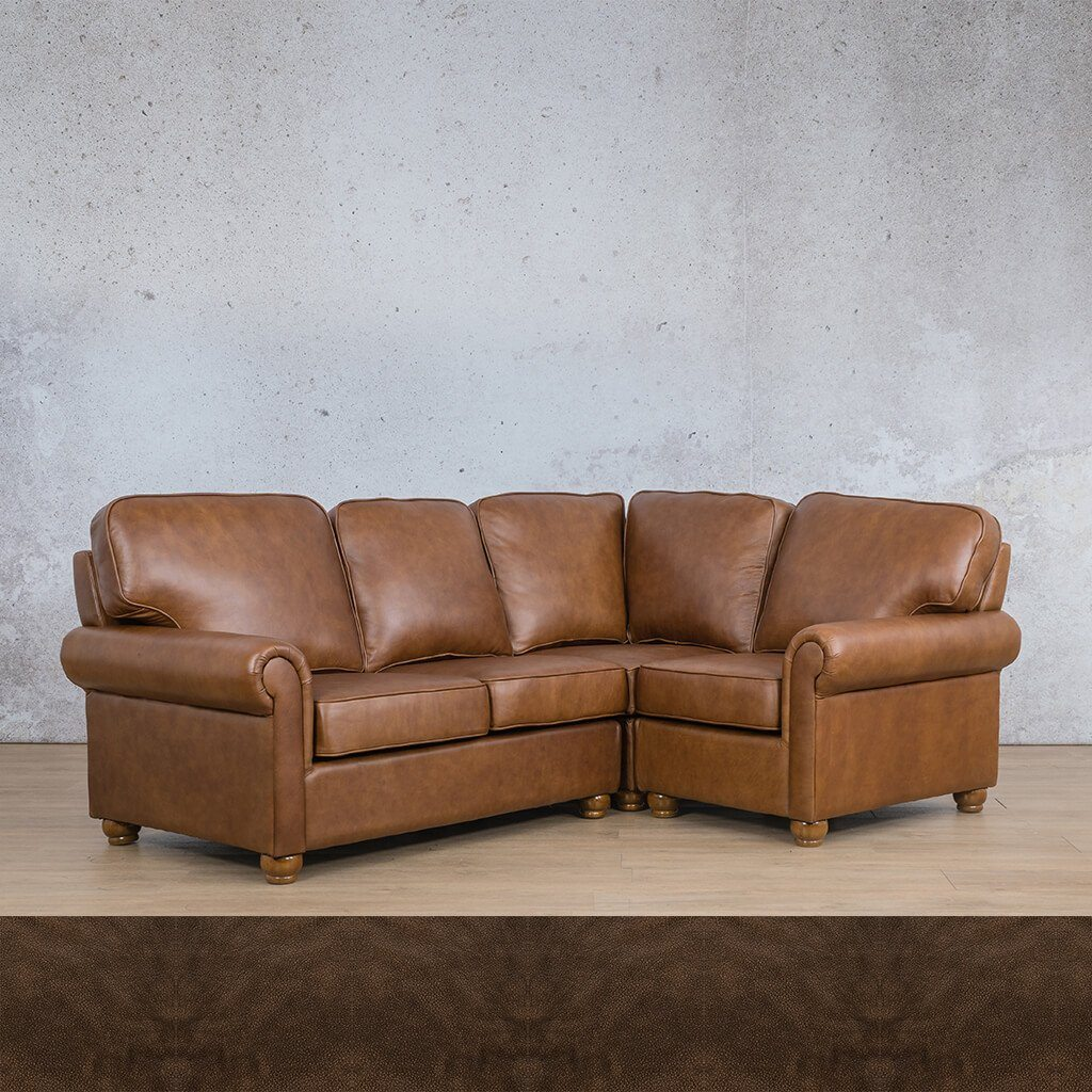 Salisbury Leather Corner Couch | L-Sectional 4 Seater-RHF | Buffed Brown | Couches For Sale | Leather Gallery Couches