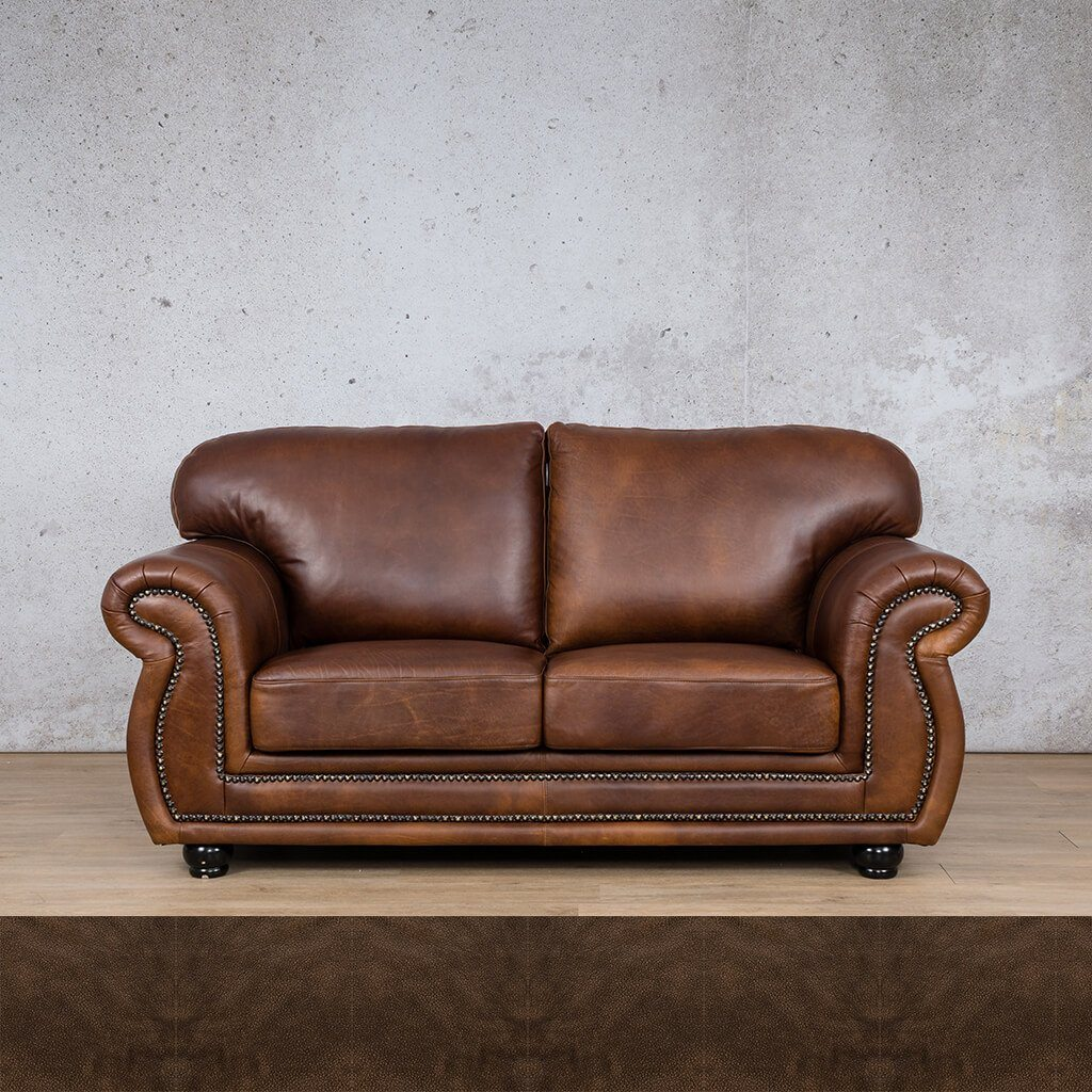 Isilo Leather Couch | 2 Seater Couch | Couches for Sale | Buffed Brown | Leather Gallery Couches