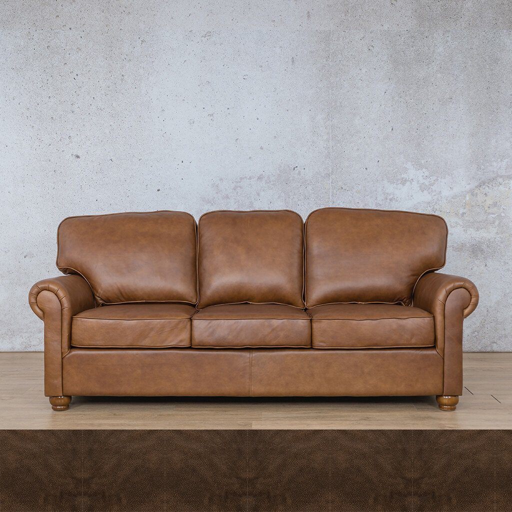 Salisbury Leather Couch | 3 seater couch | Buffed Brown | Couches for Sale | Leather Gallery Couches